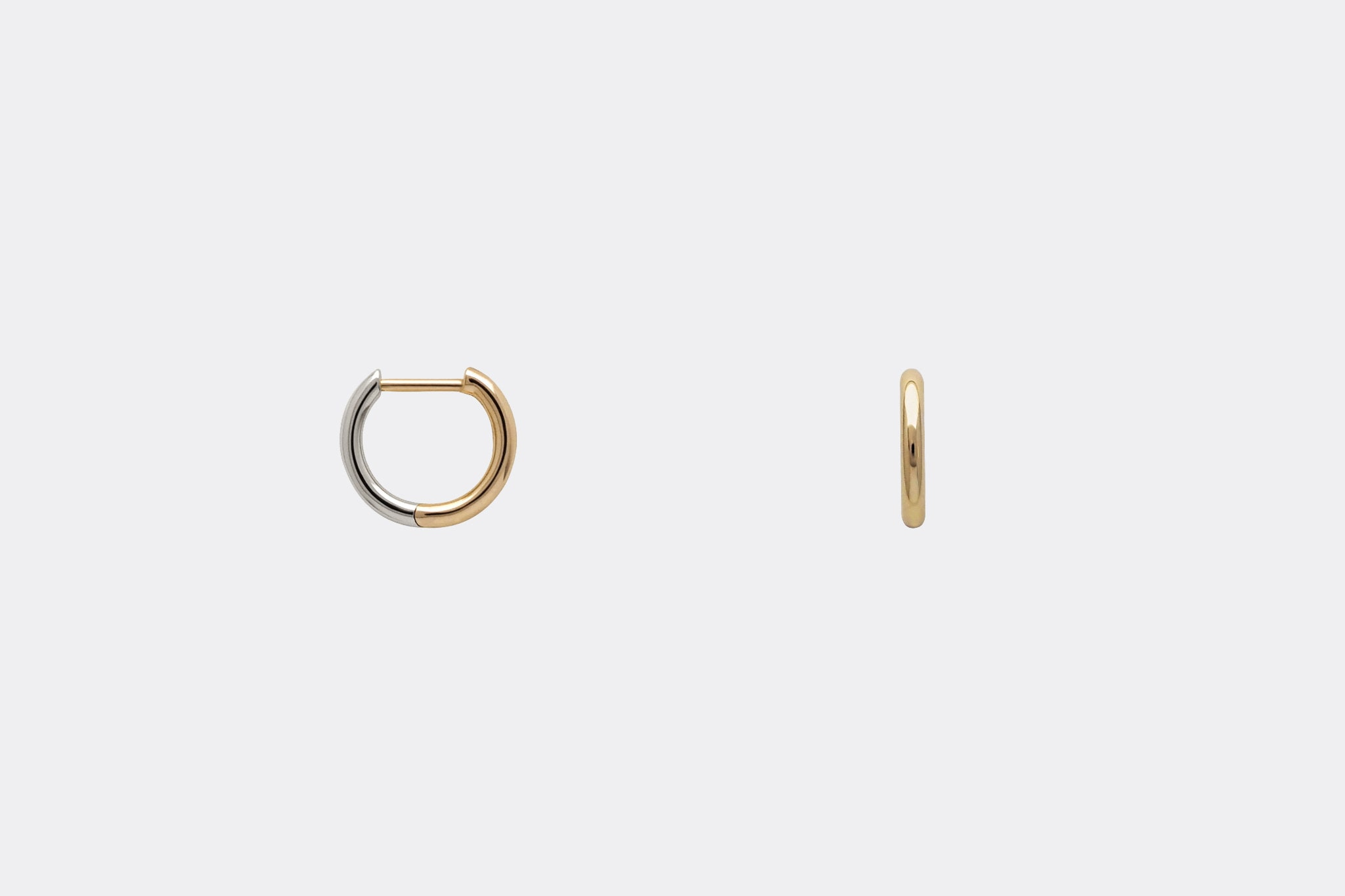 Two Tone Huggie Hoop Earrings 14k Yellow Gold White Gold