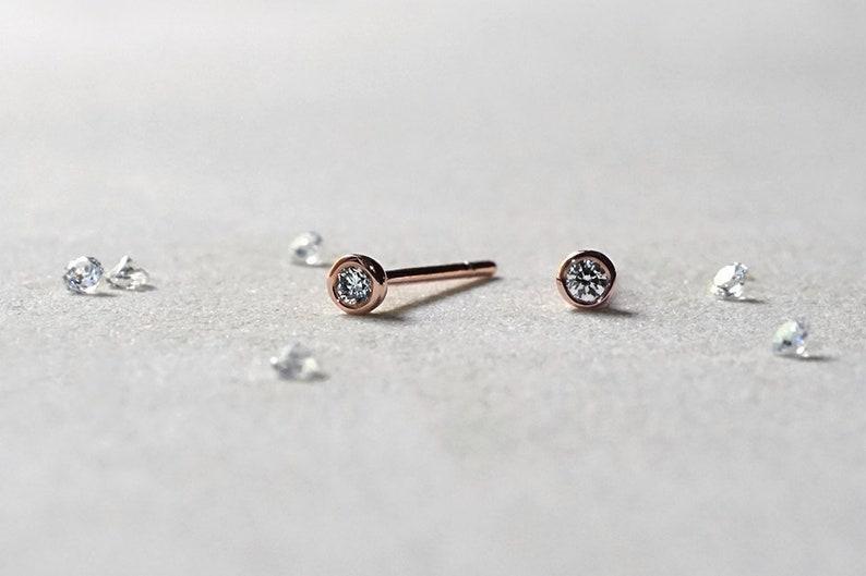 daf0c94acd9 14k Rose Gold Circle Diamond Stud Earrings - Mini Round Diamond Earrings  2mm - Bezel Set - Best Gifts - Everyday Fine Jewelry LITTIONARY