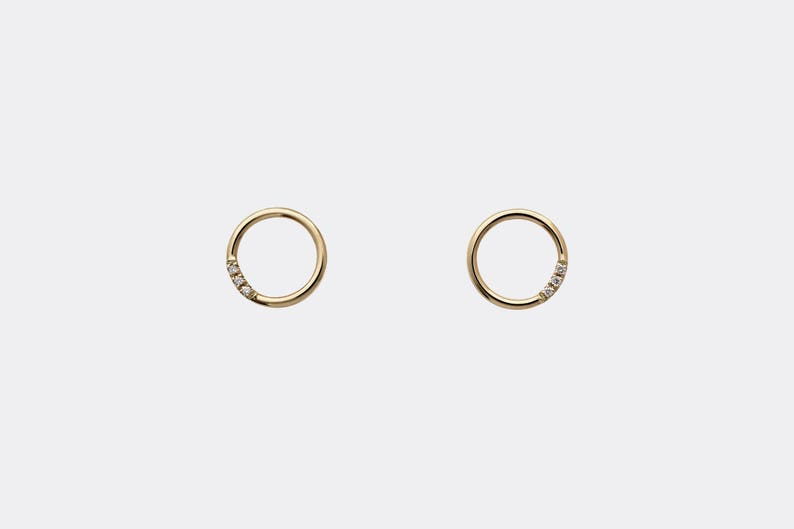 80bec0e4a Open Circle Diamond Earrings 14k Gold Tiny Circle Studs   Etsy