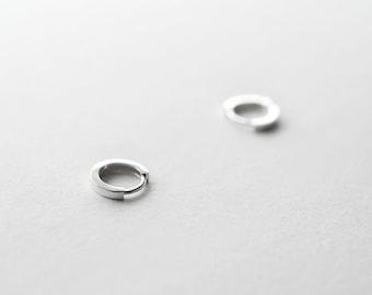Sterling Silver Hinged Tiny Hoop Earrings - 10mm Huggie Sleeper hoops - Gift For Her - Simple Minimalist Everyday Jewelry LITTIONARY