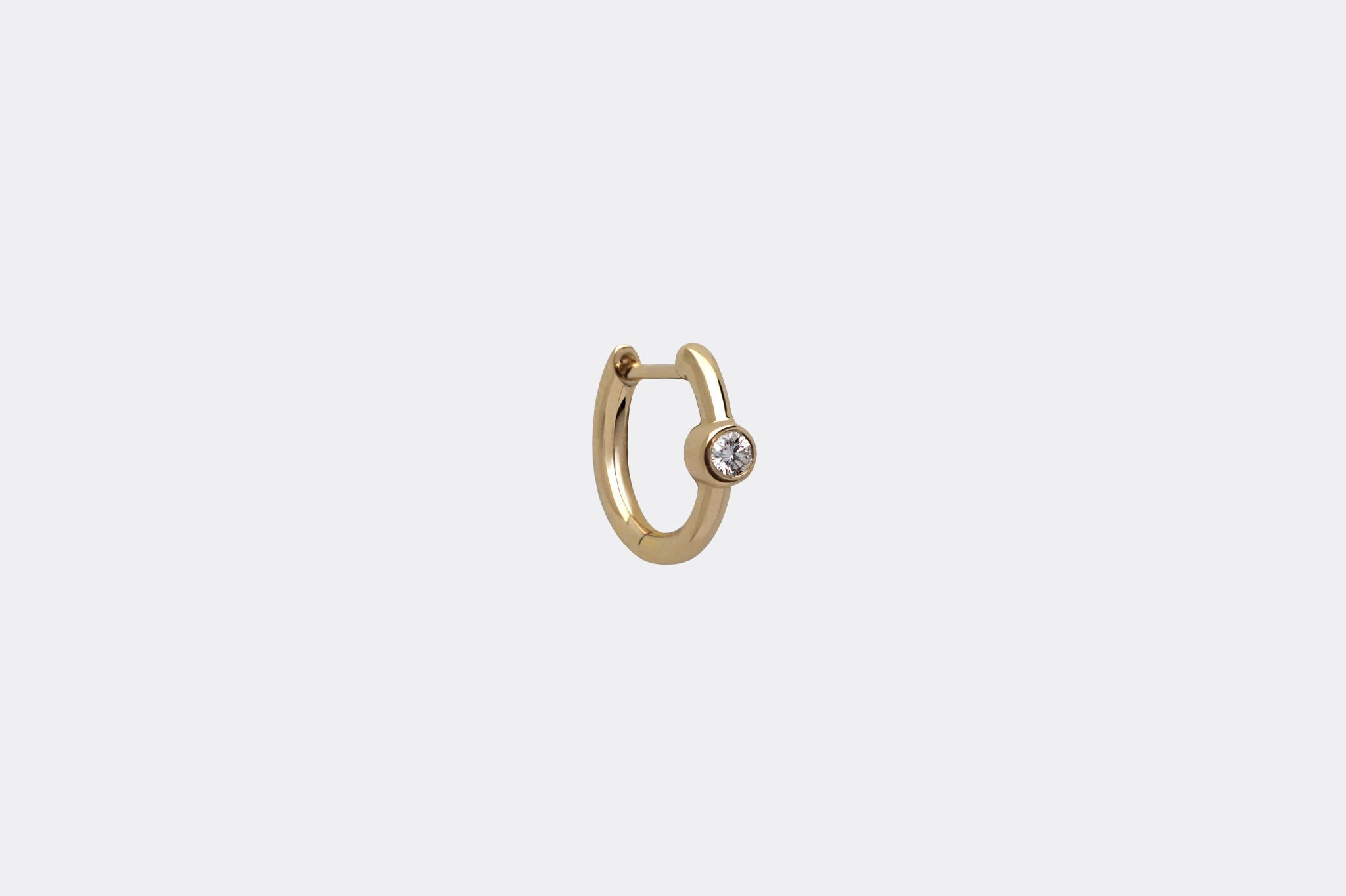 14k Tiny Diamond Hoop Earrings Size 10mm Ear Hugging Hoop Mini