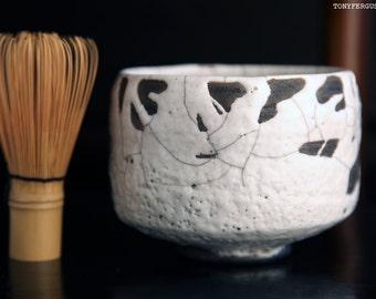 Chawan Matcha Green Tea Bowl Ferguson White Raku 茶碗 Wabi Sabi