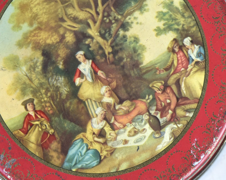 Vintage metal tin Box  Picnic on the grass Round Metal container Red Tin box Renaissance Painting