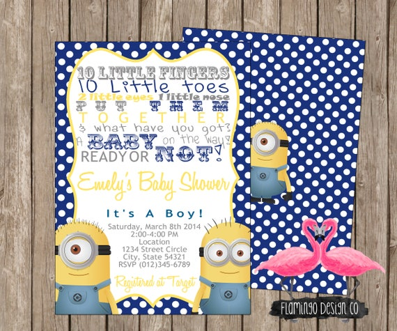 MINION INSPIRED Baby Shower Invitation Movie Theme Baby
