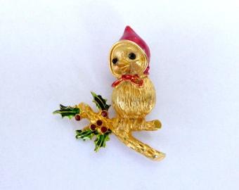 Vintage Christmas Birdie Brooch