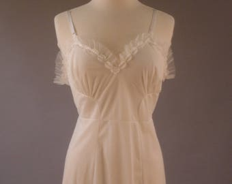 1960's White Dress Slip with Flowers and Ruffles, 38