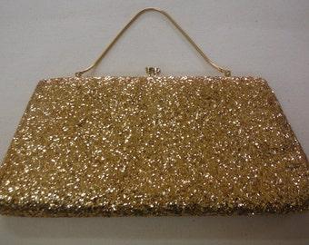Gold Glitter Evening Bag, Vintage 1960's.