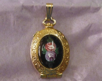 Guilloche Painted Locket, by Godette