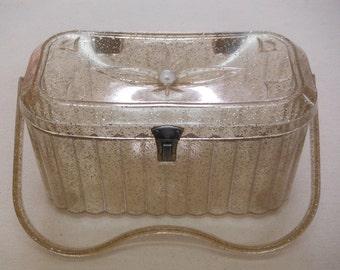 Gold Glitter Lucite Handbag, Vintage 1960's