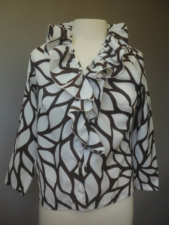 Ruffle front 1960's blouse, Rhonda Lee, 34 - image 1