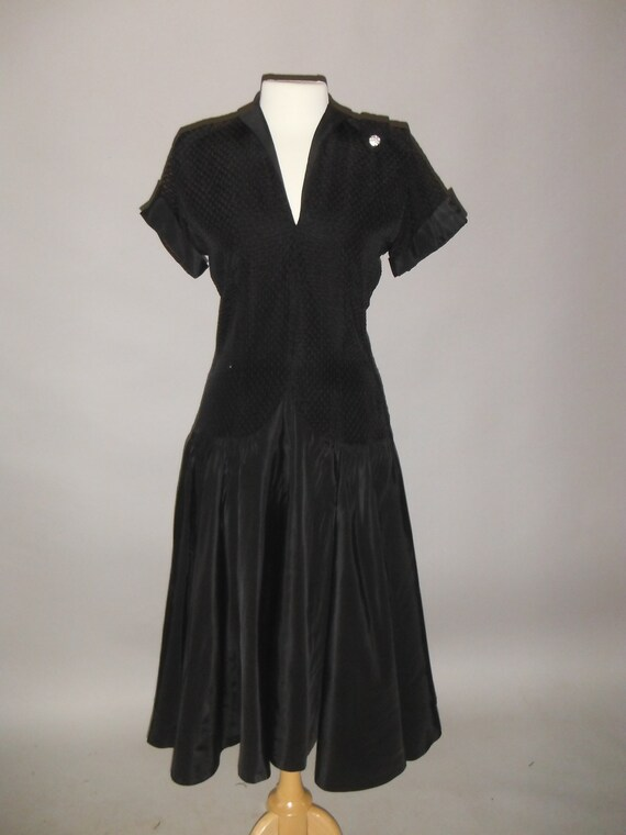 Elegant Beautiful Black Party Dress, 1940's, M - image 1