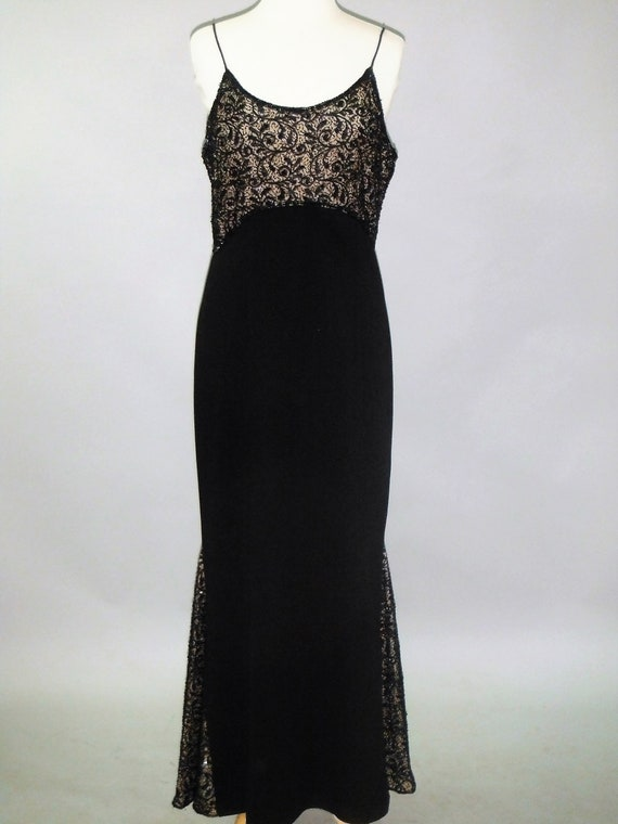 Laurence Kazar Black Beaded Evening Gown, M
