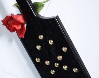 Torquemada - Heavy Oak Paddle, Mirrored Black Enamel, Shined Brass Studs  -BDSM Spanking Toy!