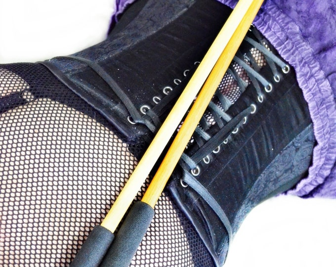 Short BDSM Spanking Cane Set - Delrin Cane and Oak Rod