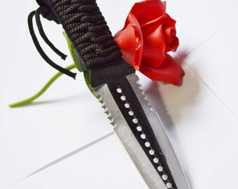 """9"""" Black and Silver Double Bladed Knife - BDSM Knife Play blade, slim, sexy play toy!"""