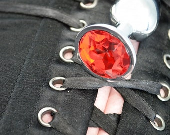 SALE - Little Princess Jeweled Butt Plugs in Brilliant Red - BDSM Sex Toys