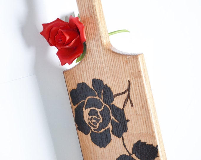 BDSM Spanking Paddle - Wood Burned - Rose Patterned