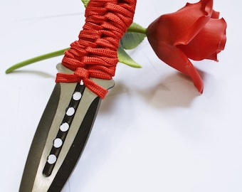 Blood Red, Black and Silver Blade - 7 inches of Gorgeous Sharp Fun Times!   BDSM Knife Play Toy!