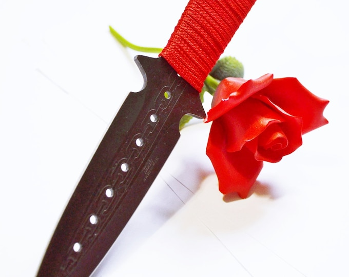 Red and Black 9 inch Black Metal Dagger - BDSM Knife Play blade, slim, sexy play toy!