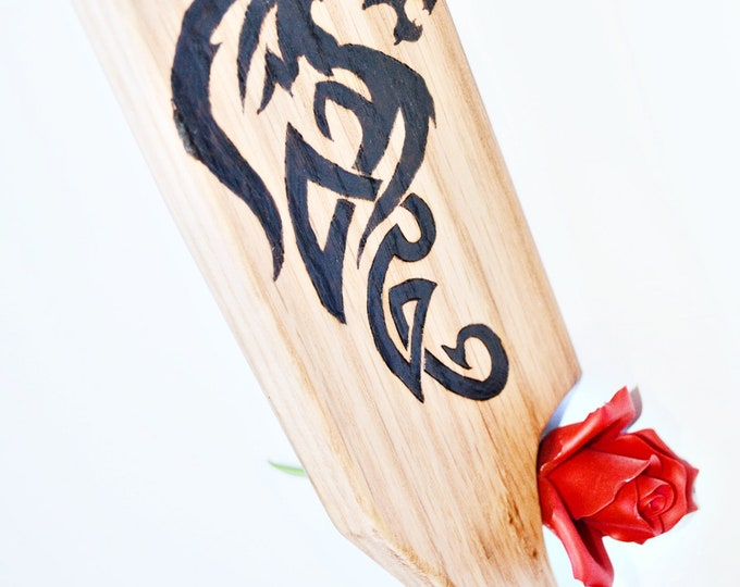 Dragon BDSM Spanking Paddle - Wood Burned