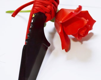 """Red and Black Dagger III -  7"""" Black Blade and Hand Woven Red Cord Grip - BDSM Knife Play blade, slim, sexy play toy!"""