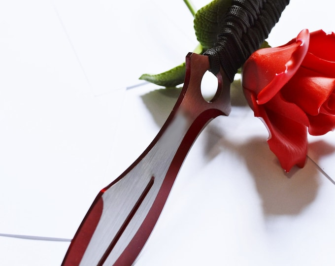 Silver and Crimson, Curved Blade, Hand Wrapped and Woven Black Cord - Sharp!  BDSM Knife play toys