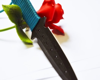 "Teal Grip, Black Metal Dagger - 9"" BDSM Knife Play blade, slim, sexy play toy!"