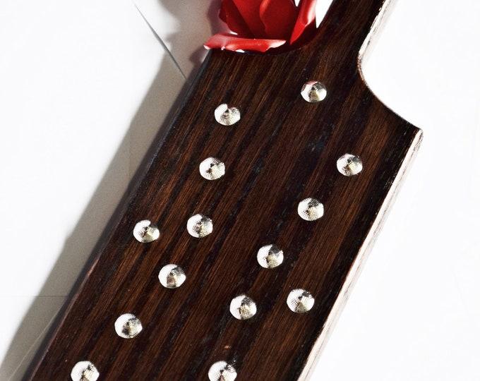 Torquemada - Heavy Oak Paddle, Dark Brown Oak, Stainless Steel and Nickel Studs  -BDSM Spanking Toy!