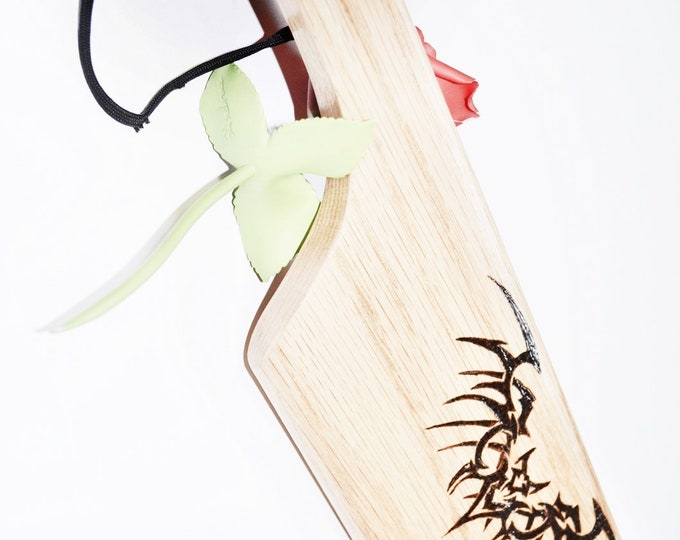 Dragonwing Oak One Handed Paddle, Wood Burned by Hand, Heavy spanking bdsm toy
