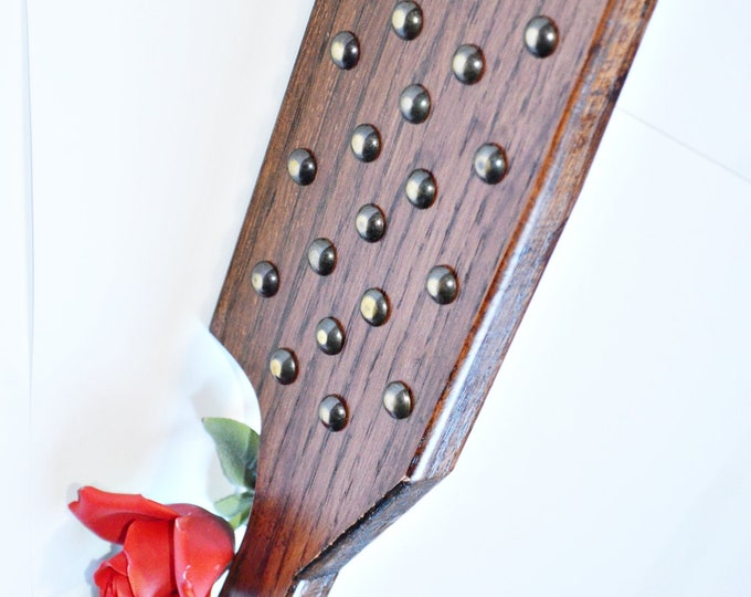 Dark Brass - Blade Shaped Torquemada - Heavy Oak Paddle, Dark English Oak Brown, Shined Brass Studs - BDSM Spanking Toy!