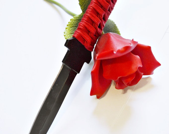 "Red and Black Dagger 1 -  7"" Black Blade and Hand Woven Red Cord Grip - BDSM Knife Play blade, slim, sexy play toy!"