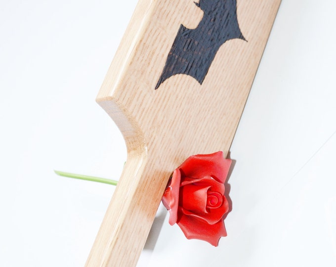 Batman - DC Comics - Geek Fetish BDSM Spanking Paddle - Wood Burned Artwork piece - Geek Kink Patterned