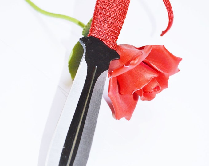 Crimson and Black, 8 inch steel double edged dagger - BDSM Knife Play blade, slim, sexy play toy!
