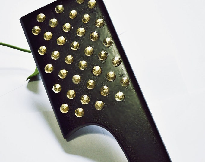 Single hand, black and brass studded spanking paddle!