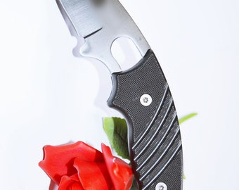 Silver Curved Hook Blade Knife - BDSM Knife Play blade, slim, sexy play toy!