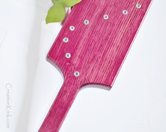 EXTREME Torquemada - Heavy Oak Paddle, Disturbingly Spiked Textured Studding, NEON! Pink... BDSM Spanking Toy!