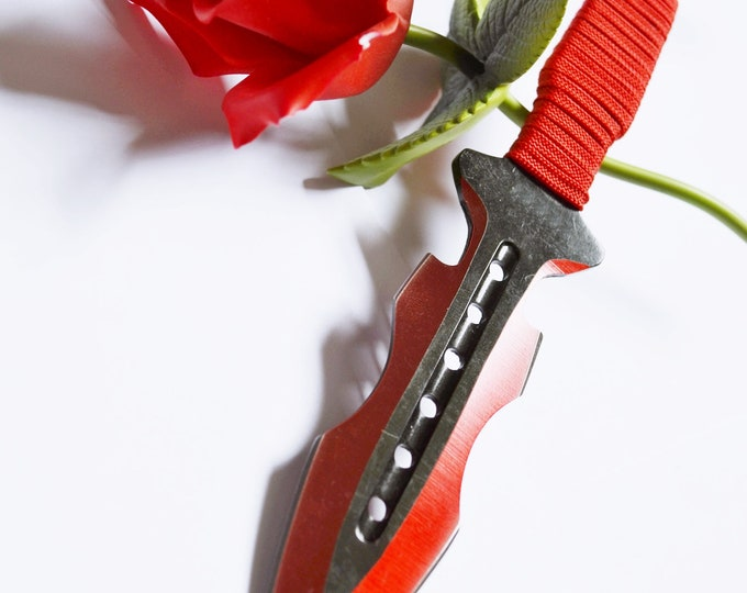 Red Jagged Bladed, Short In Close Knife Play Blade - Red Wrapped Cord Handle -  BDSM sexy play toy!