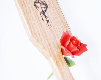 With Hips Like These... Green Woman  - BDSM Spanking Paddle - Wood Burned Art, Hand Pyrography Spanking Art