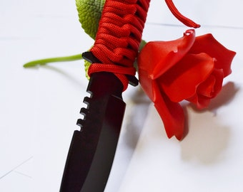 """Red and Black Dagger II -  7"""" Black Blade and Hand Woven Red Cord Grip - BDSM Knife Play blade, slim, sexy play toy!"""