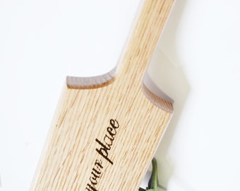 Know Your Place!  - Heavy Oak Paddle, Hand shaped and wood burned... BDSM Spanking Toy!