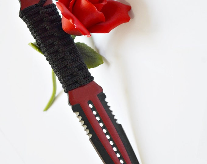 "9"" Blood Red Double Bladed Knife - BDSM Knife Play blade, slim, sexy play toy!"