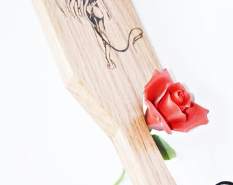 The Devil's Tail - BDSM Spanking Paddle - Wood Burned Art, Hand Pyrography Spanking Art
