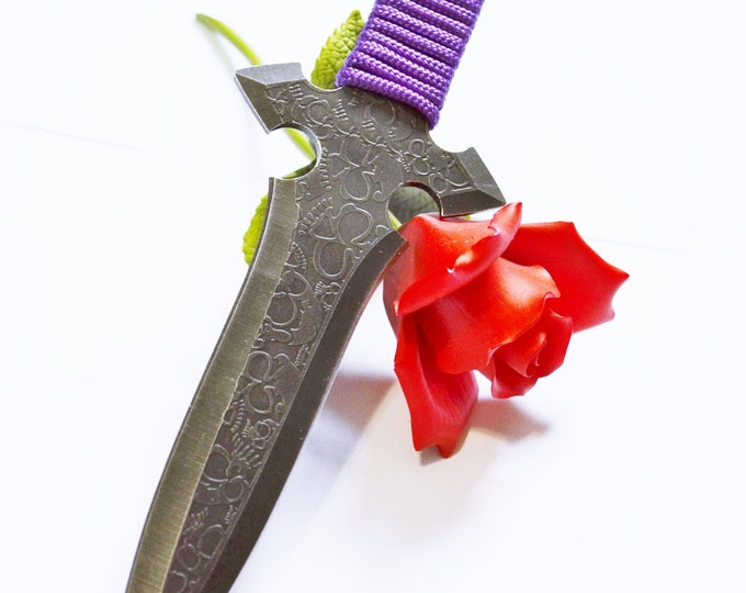 "Violet Cross 9"" Silver and Purple Dagger - BDSM Knife Play blade, slim, sexy play toy!"