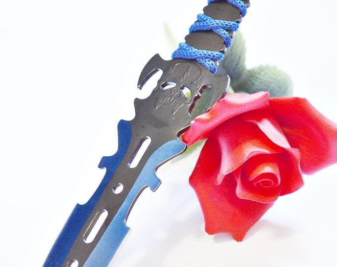 "8"" Thin Black Bladed Knife - Metallic Blue Skull - BDSM Knife Play blade, slim, sexy play toy!"
