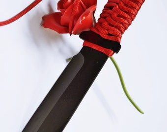 Red and Black Dagger IV - 10 1/2 Inches of Black Steel, Red Cord Grip, Heavy BDSM Knife Play Dagger - Can Be Dulled for Beginning Knife Play