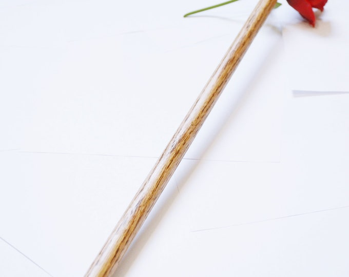 Oak Evil Rod - Leather Wrap Handles - BDSM Evil Cane - Caning Sex Toy