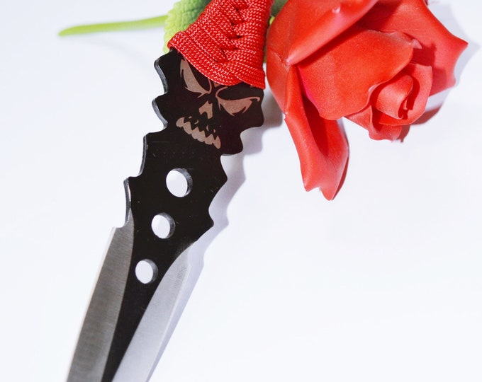 "Crimson Skull - Over 8"" of Black and Silver Blade and Hand Woven Red Cord Grip - BDSM Knife Play blade, slim, sexy play toy!"