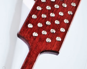 Torquemada - Heavy Oak Paddle, Blood Red Crimson, Stainless Steel and Nickel Studs  -BDSM Spanking Toy!