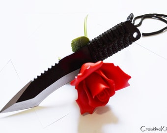 Wickedly curved, black bladed 7 inch steel dagger - BDSM Knife Play blade, slim, sexy play toy!