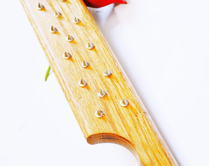 Hand Waxed, Steel Spiked, Natural Waxed Oak BDSM Spanking Paddle - Hand Cut and worked, smoothed, waxed for a natural finish